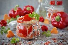 Col conservada en vinagre con las zanahorias y la pimienta dulce en el tarro de cristal Foto de archivo libre de regalías