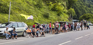 Fans on the Roads of Le Tour de France. Col D'Aubisque,France- July 15th, 2011: Groups of people waiting on the side of the road to mountain pass Aubisque,in Stock Photography