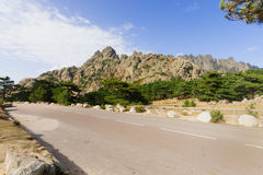 Col de Bavella. View of the Col de Bavella Mountain Pass. Corse-du-Sud, Corsica, France Royalty Free Stock Images