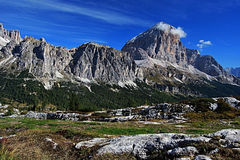 Col de Bos, Rozes and Tofana di Rozes peaks Royalty Free Stock Photos