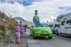 The Joy of Publicity Caravan - Tour de France 2015. Col de la Croix de Fer, France - 25 July 2015: Teisseire caravan driving on the road to the Col de la Croix stock photos