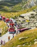Vittel Caravan in Alps - Tour de France 2015 Royalty Free Stock Photos
