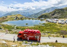 Vittel Caravan in Alps - Tour de France 2015 Stock Photos