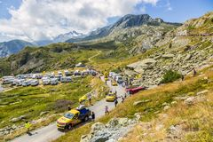 LCL Caravan in Alps - Tour de France 2015. Col de la Croix de Fer, France - 25 July 2015: LCL caravan driving on the road to the Col de la Croix de Fer in Alps Stock Photography