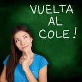 Col del al de Vuelta - estudiante español de nuevo a escuela Imagen de archivo libre de regalías