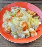 Col del sofrito con el camarón, comida tailandesa Imagenes de archivo