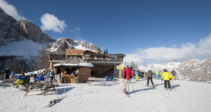 Col Druscie Mountain Hut. 09 February 2015 - Cortina D`Ampezzo, Italy. Famous olympic mountain refugee hut in Italian alps Royalty Free Stock Photography
