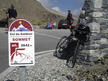 Col du Galibier. Cycling to the top of de Col du Galibier Royalty Free Stock Image