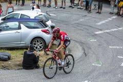 The Cyclist Adam Hansen - Tour de France 2015. Col du Glandon, France - July 24, 2015: The Australian cyclist Adam Hansen of Lotto-Soudal Team,climbing the road Royalty Free Stock Photos