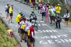 The Cyclist Yohann Gene - Tour de France 2015. Col du Glandon, France - July 24, 2015: The French cyclist Yohann Gene of Europcar Team,climbing the road to Col Royalty Free Stock Photography
