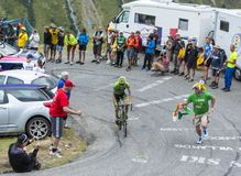 The Cyclist Dan Martin - Tour de France 2015. Col du Glandon, France - July 24, 2015: The Irish cyclist Dan Martin of Cannondale-Garmin Team,climbing the road to Stock Photo