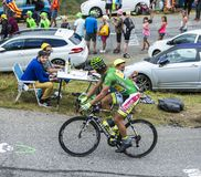 The Cyclist Peter Sagan - Tour de France 2015. Col du Glandon, France - July 24, 2015: The Slovak cyclist Peter Sagan of Tinkoff-Saxo in Green Jersey,climbing Royalty Free Stock Images