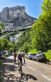 Amateur Cyclists. Col du Granier,France-July 13th, 2012:Amateur cyclists climbing the road to mountain pass Granier in the Alps during the stage 12 of Le Tour de stock photos
