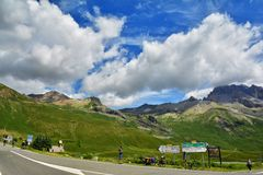Col du Lautaret, France. LE LAUTARET, FRANCE - JULY, 17, 2017.Col du  Lautaret, high mountain pass in the department of Hautes-Alpes ,communication route between Royalty Free Stock Photo