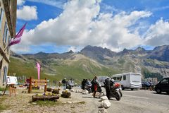 Col du Lautaret, France. LE LAUTARET, FRANCE - JULY, 17, 2017.Col du  Lautaret, high mountain pass in the department of Hautes-Alpes ,communication route between Stock Images