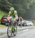 Col du Platzerwasel Джин-Марк Marino велосипедиста взбираясь - путешествие Стоковая Фотография RF