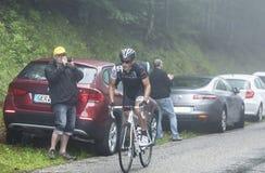 Col du Platzerwasel Мэттью Busche велосипедиста взбираясь - путешествие Стоковые Фотографии RF