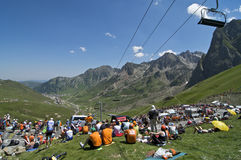 Col du Tourmalet Crowd Fotografie Stock