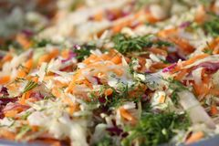 Col Ensalada fresca del verano con la col, las zanahorias y el perejil Ensalada de la col rizada Alimento sano Plato de la dieta  foto de archivo libre de regalías