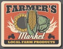 Col, maíz y girasol Verduras de la granja libre illustration
