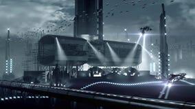Colônia futurista planetária da ficção científica ilustração royalty free