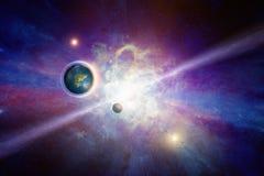 Colônia humana no espaço profundo sobre terra-como o planeta foto de stock