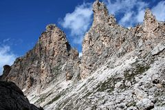 Dolomite`s landscape - Col Pradat. Col Pradat at Colfosco - Alta Badia - Landscape of Dolomites mountain in Sud Tyrol, Italy Stock Photos