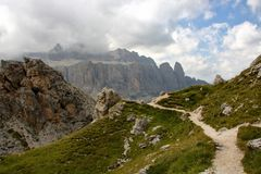 Dolomite`s landscape - Col Pradat. Col Pradat at Colfosco - Alta Badia - Landscape of Dolomites mountain in Sud Tyrol, Italy Royalty Free Stock Photo