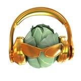 Col verde con el vidrio de sol y cara delantera de los auriculares en un wh stock de ilustración