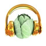Col verde con los auriculares en un fondo blanco illustra 3D ilustración del vector