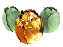 col verde y col del oro aislada en el fondo blanco 3d ilustración del vector