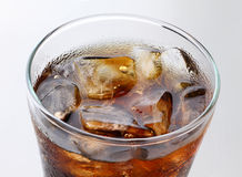 Cola. Glass of cola with ice closeup Stock Image
