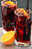 Cola alcoholic cocktail. Cola alcoholic cocktail and fruits Royalty Free Stock Photo