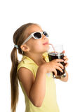 Cola bebendo da menina Fotos de Stock Royalty Free