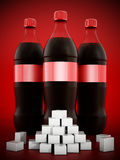 Cola bottles with lots of sugar cubes. On red background royalty free illustration