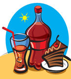 Cola and cake. Cola, cake, bottle and glass with ice cubes stock illustration