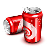 Cola can. Opened and closed red cola can vector illustration