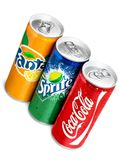 Coca Cola, Fanta and Sprite cans isolated on white. Cola cans coca sprite fanta ice cold red Stock Images