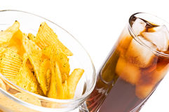 Cola and chips Royalty Free Stock Images