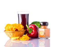 Cola and Chips with Pepper Royalty Free Stock Images