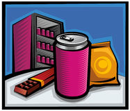 Cola and chocolate. With pack of sweets on the bar stock illustration