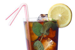 Cola Cocktail. With lemon and mint garnish Stock Images