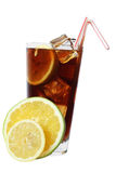 Cola Cocktail. With lemon and mint garnish Stock Image