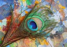 Cola colorida del pavo real en el pallette artístico de madera viejo foto de archivo