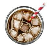 Cola com gelo e palha bebendo imagem de stock