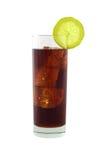 Cola com os cubos do cal e de gelo Imagens de Stock Royalty Free