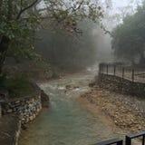 Cola de caballo waterfalls. The waterfalls at Santiago Nuevo Leon stock photo