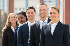 Cola de Team Of Businesspeople Standing In fotografía de archivo libre de regalías