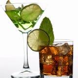 Cola del cocktail del gruppo con il mojito del whiskey Immagini Stock Libere da Diritti