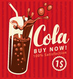 Cola drink glass in retro style Stock Image